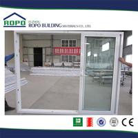 Three panels white frame UPVC bedroom sliding glass door design