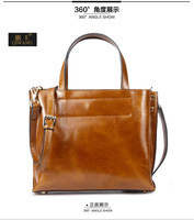 free shipping vintage Oil wax cowhide genuine leather tote bag manufacturer in Guangzhou