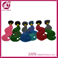 2015virgin thailand brazilian hair weave drop shipping ombre hair body wave green/blue/red/pink colorful hair
