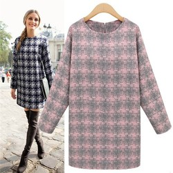 HFR-AN221 Europe 2015 autumn-winter lady new fashion plaid long-sleeved loose dress