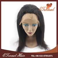 Natural Looking brazilian hair 16inch kinky straight natural unprocessed remy virgin human hair wig low density full lace wig