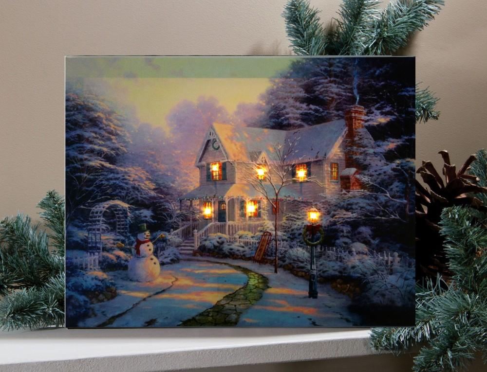 Artiste de no l peinture l 39 huile sur toile peinture paysage d 39 hiver - Acheter tableau peinture ...