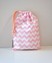 Chevron Pink Cotton draw string pouch, cosmetic pouch, toiletry pouch