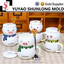 Creative cartoon snowman bear ceramic coffee mugs with cover with a spoon