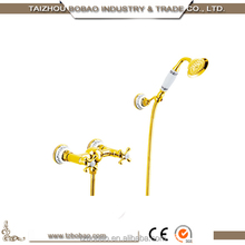 Telephone style wall mounted antique golden bathtub faucet, gold bathroom faucet
