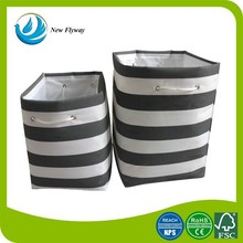 New product large striped printing canvas foldable laundry basket