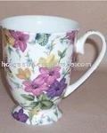 10oz Beautiful Flower Design Bone China Mug For Sale 6H6001