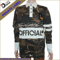 Men's Heavy cotton long sleeve custom camo rugby shirt