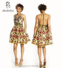 M40794 Mix Match Ankara African Print Halter Dress Sexy african summer dress from clothing manufacturer