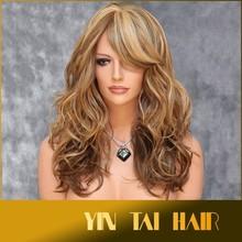 Fashion Synthetic Wig Long Wavy Mix Medium & Dark Blonde ABAR Kanekalon Wigs Breathable Lace Cap Human Hair Wig