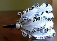 feather headband feather pad factory supply fashion girls lace headbands peacock feather headbands IN STOCK