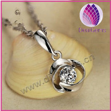 Sterling silver with rhinestone hope charm pendant