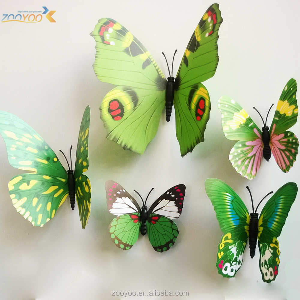Modieuze 3d sticker kleurrijke vlinder muur decor 3d muur sticker ...