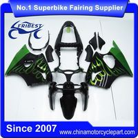 FFKKA003 Motorcycle Fairing Kit For ZX 6R ZX6R 2000 2001 2002 Black With Green Flame