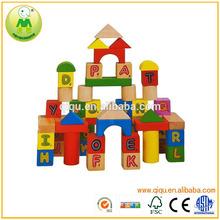 Carta de madera educativo de los niños de bloques de construcción
