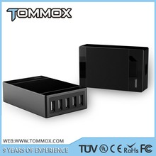 Black Tommox 5-Port 40W Desktop USB Charger W PowerIQ Family Sized