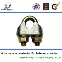Carbon U-bolt DIN type Galv Malleable body casting wire rope fastener