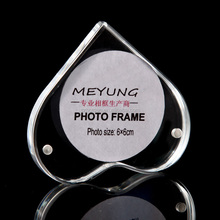 Table Heart Shaped Acrylic PMMA Paper Picture Frame Holder