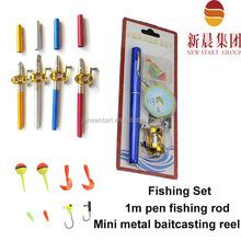 Stock 1m fiberglass pen fishing rod and metal baitcasting reel fishing tackle set with lure jig hook float line