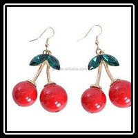 The 2015 New Fashion Wind Retro Temperament Small Red Cherry Earrings For Women