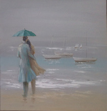 Romantic Lovers on the beach handpaint on canvas oil paintings