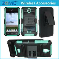 Shenzhen Sublimation Rugged Holster Silicone Back Cover Case With Fold Stand Belt Clip For Huawei Valiant Y301 H881C