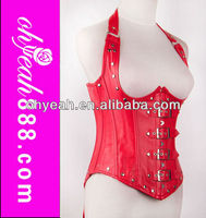 Newest arrival sexy womens waist training spiral type plus size cheap leather steel boned corset