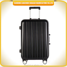 PC high quality suitcase shinning luxury trolley luggage fashionable black travel business luggage
