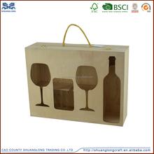 Custom wooden wine gift box for wine glasses