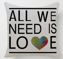 """2015 New """"All we need is Love"""" Sofa Seat Cushion Covers Replacement"""
