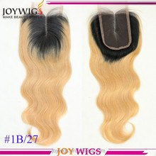 Hot Selling !!! Middle Parting #1b/27 Dark Roots Ombre Peruvian Virgin Hair Bundles With Lace Closure