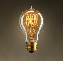 edison carbon filament lamp, quad loop anqitue bulb A19/A60 25W/40W/60W hot sale