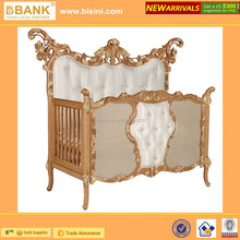 (BK0105-70305A)Wooden Baby Crib/Antique Burly Golden Hand Carving New born Baby Cot/ Wooden BB Bed