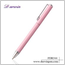 High quality pink color metal ball pen for woman ballpoint pen gift