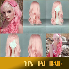 Thr pink Theme , Long Wavy Synthetic, Synthetic Body Wavy Lace Front Wig Japanese Synthetic Hair Mix Lace Wig