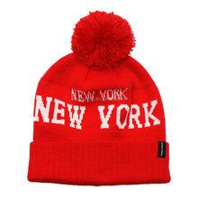 NEW YORK acrylic knit pom pom beanie hat bobble hat