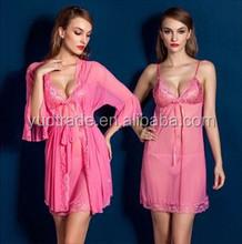 High Quality factory made Hot Women elegant Transparent sexy 2pcs nightwear