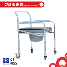 Physical Therapy Apparatus Steel Folding Commode Chair with Wheels