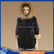 2015 New design genunie Whole Hide Fashion Rabbit and Raccoon Fur Coat with Hood