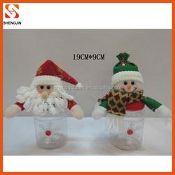 2015 clear plastic santa & snowman christmas candy jar
