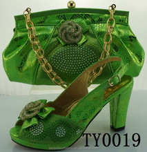 TY0019 High quality ladies matching shoes and bags set/Green sexy high heel shoes 12 cm high heel shoes and matching bags
