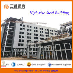 High Rise Prefabricated Light Steel Frame Structure Fabrication Office Construction Building