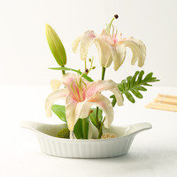 1set pink artificial lily flowers false water flowers home decoration silk flowers artificial flowers for wedding decoration