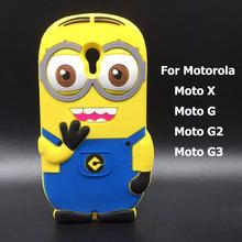 3D despicable me Phone cases for motorola moto X g2 g 3d cartoon minion case