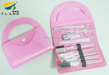 Hot sell nice pink case for lady stainless Steel travel kids manicure set