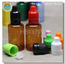 China suppliers 30ml amber brown PET e liquid plastic bottle With nozzle top for vape