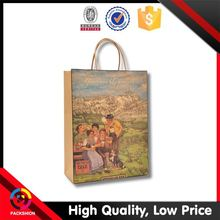 Ribbon Packing Brown Kraft Paper Shopping Bags With Rich Experience