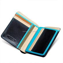 Eco-friendly Spain full grain shiny black leather card wallet organizer handmade bag for men