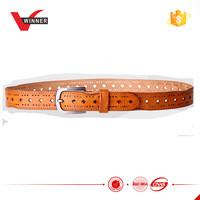 Brown leather mens fashion belt