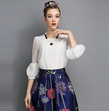 Niza camisas para mujer nuevo largo invierno- camisa de manga larga de manga farol femenina camisa de gasa
